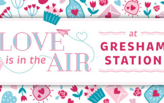 Gresham Station Valentine's Day header graphic that reads Love is in the Air at Gresham Station