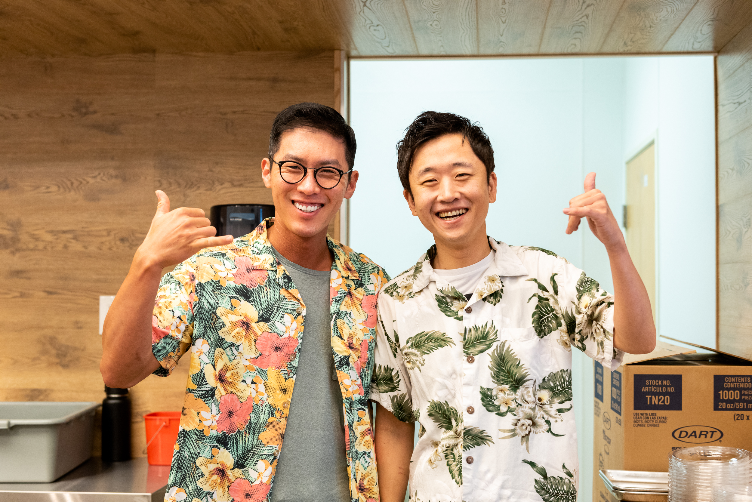 Joke Poke Bar restaurant owner, Justin Hwang, and business partner, Shaun
